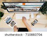 overhead desktop with travel... | Shutterstock . vector #710883706