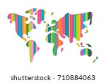 world map shape illustration in ... | Shutterstock .eps vector #710884063