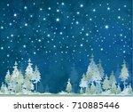 vector winter night starry sky... | Shutterstock .eps vector #710885446