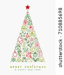 merry christmas and happy new... | Shutterstock .eps vector #710885698