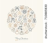 merry christmas and happy new... | Shutterstock .eps vector #710885830