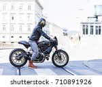 motorcycle rider on custom made ... | Shutterstock . vector #710891926