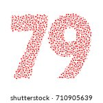 abstract number 79 made of red...   Shutterstock .eps vector #710905639