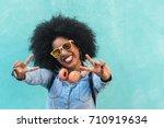 beautiful afro american woman... | Shutterstock . vector #710919634
