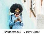 beautiful afro american woman... | Shutterstock . vector #710919880
