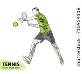 hand sketch of american tennis... | Shutterstock .eps vector #710924116