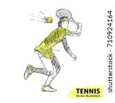 hand sketch of american tennis... | Shutterstock .eps vector #710924164