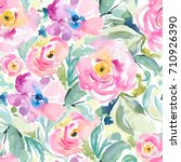 Stock photo tropical watercolor floral pattern with large bold flowers 710926390