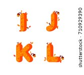 flat style font with autumn... | Shutterstock .eps vector #710929390