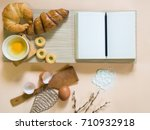 homemade croissant with... | Shutterstock . vector #710932918