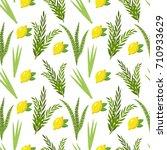 happy sukkot seamless pattern.... | Shutterstock .eps vector #710933629