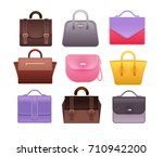 woman bags isolated on white... | Shutterstock .eps vector #710942200