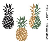 collection of pineapple... | Shutterstock .eps vector #710944519