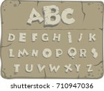 letters from the stone age with ... | Shutterstock .eps vector #710947036