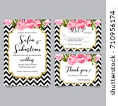 vector set of invitation cards... | Shutterstock .eps vector #710956174