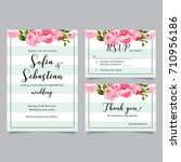 vector set of invitation cards... | Shutterstock .eps vector #710956186