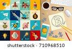 crypto currency. bitcoin. e... | Shutterstock .eps vector #710968510