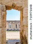 Small photo of Classical greek temple at ruins of ancient city Paestum, Cilento, Italy