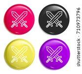 swords multi color glossy badge ...