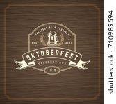 oktoberfest greeting card or... | Shutterstock .eps vector #710989594