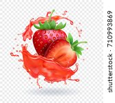 strawberry realistic juice... | Shutterstock .eps vector #710993869