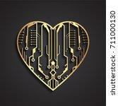 3d golden circuit board heart   Shutterstock .eps vector #711000130