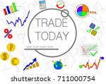 set of flat trading and... | Shutterstock .eps vector #711000754