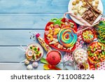 overhead view of colorful array ... | Shutterstock . vector #711008224