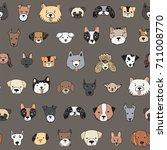 dog faces funny cartoon doodle... | Shutterstock .eps vector #711008770