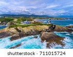 the pancha island lighthouse ... | Shutterstock . vector #711015724
