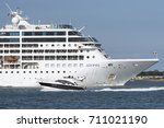 Small photo of Cruise ship Adonia underway on Southampton Water England UK with a pleasure cruiser alongside. August 2017
