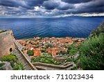 "the medieval ""castletown"" of... | Shutterstock . vector #711023434"