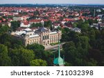 Stock photo beautiful super wide angle summer aerial view of hannover germany lower saxony seen from 711032398
