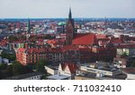 Stock photo beautiful super wide angle summer aerial view of hannover germany lower saxony seen from 711032410