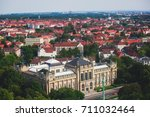 Stock photo beautiful super wide angle summer aerial view of hannover germany lower saxony seen from 711032464