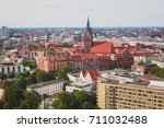 Stock photo beautiful super wide angle summer aerial view of hannover germany lower saxony seen from 711032488