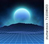 futuristic retro landscape of... | Shutterstock .eps vector #711038053