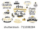 set of christmas and happy new... | Shutterstock .eps vector #711038284