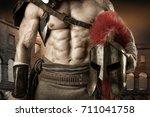 ancient warrior or gladiator... | Shutterstock . vector #711041758