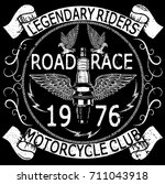 motorcycle poster tee graphic... | Shutterstock .eps vector #711043918
