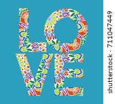 beautiful ornate colorful word '... | Shutterstock .eps vector #711047449