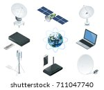 isometric wireless technology... | Shutterstock .eps vector #711047740