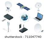 isometric wireless technology... | Shutterstock .eps vector #711047740