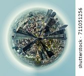little planet 360 degree sphere ... | Shutterstock . vector #711051256