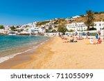 mykonos  greece  may 23  2017 ... | Shutterstock . vector #711055099