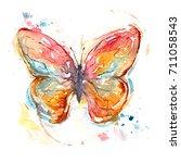 butterfly watercolor high... | Shutterstock . vector #711058543