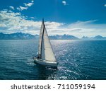 aerial view of sailing yacht in ... | Shutterstock . vector #711059194
