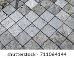 slate roof of a house in norway....   Shutterstock . vector #711064144