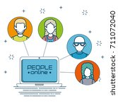 social network connecting... | Shutterstock .eps vector #711072040