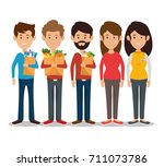 people shopping at the... | Shutterstock .eps vector #711073786